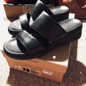 """Rockport Leather """"Dominica"""" Sandals Slides 8M"""